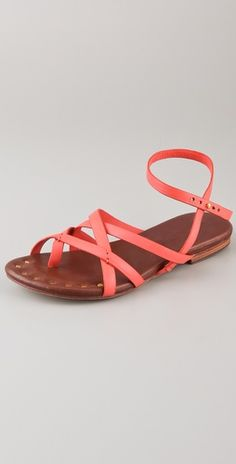 Strappy leather sandals in coral. By Matt Bernson.