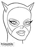 This printable Batman coloring page show the face of the DC comics character Catwoman (Cat Woman) that has appeared in dozens of Batman comi...