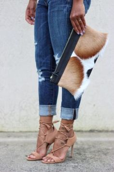 The Street styles is now trending the lace up heels; they can take you from season to season, and the lace-up heels are perfect with summer dresses or Large Clutch Bags, Leather Clutch Bags, Fall Bags, Wardrobe Basics, Fall Wardrobe, Wardrobe Staples, Lace Up Heels, Cloth Bags, Fur Purse