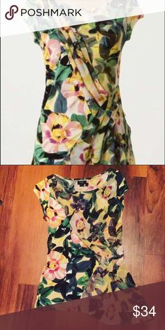 Anthropologie Deletta Beautiful Draped Floral Top Beautiful and so feminine! Layered top with chiffon over soft tee material. Adorable asymmetrical hem. So pretty! 💗 Anthropologie Tops Blouses