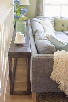 DIY sofa tables are easy and can add a lot to an open room design. This post offers up different ways you can design a sofa table to add space to a room. Diy Sofa Table, Sofa Tables, Console Tables, Diy Couch, Entryway Console, Narrow Sofa Table, Farmhouse Sofa Table, Dyi End Tables, Sofa Table With Storage