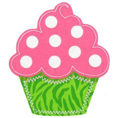 Pink & Green Cupcake Iron-On Applique