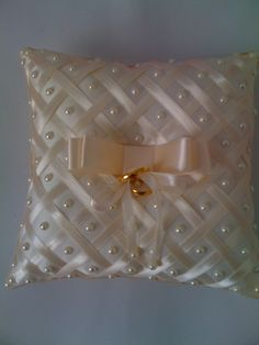 Bow Pillows, Ring Pillows, Wedding Pillows, Ring Pillow Wedding, Diy Crafts For Girls, Diy And Crafts, Gold Bedroom Decor, Ribbon Embroidery Tutorial, Cloth Pads