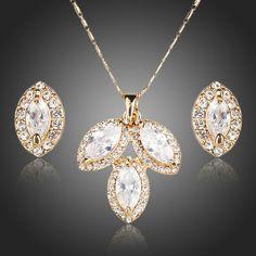 Wedding Bridal Necklace Set White Cubic Zirconia Necklace & Stud Women Earrings  #CrystalJewells