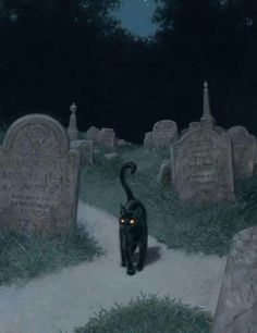 Black cat at a cemetery crossroad. I'… Black cat at a cemetery crossroad. I'm just saying that lots of beings would be quite at home as a black cat. (Art by Tristan Elwell) Halloween Pictures, Halloween Cat, Vintage Halloween, Spooky Pictures, Vintage Witch, Happy Halloween, Witch Aesthetic, Aesthetic Art, Black Cat Aesthetic