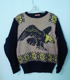 Vintage RARE 40s Sportwear Neon Eagle Sweater Man Men by Aquanetta, $225.00