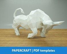 Pit bull Dog Paper Craft Digital Template Origami PDF | Etsy Low Poly, 3d Paper Crafts, Diy Paper, Illustrator, Rabbit Sculpture, Bull Tattoos, Card Making Kits, 3d Prints, Paper Models