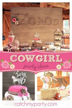 "Cowgirl / Birthday ""Gallop on Over to Zara's Party"" Girls Birthday Party Themes, Birthday Party Decorations, Birthday Parties, Themed Parties, Birthday Ideas, Cowgirl Birthday, Cowgirl Party, Third Birthday, Birthday Cake"