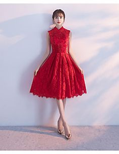 0ea71d6f30   149.99  A-Line High Neck Knee Length Lace Cocktail Party Dress