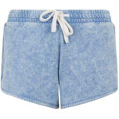 Blue Acid Washed Running Shorts ($32) ❤ liked on Polyvore featuring shorts, acid wash shorts and blue shorts