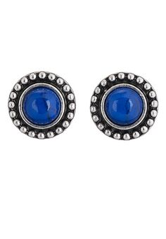 Lapis Colored Button Earring available at #Maurices