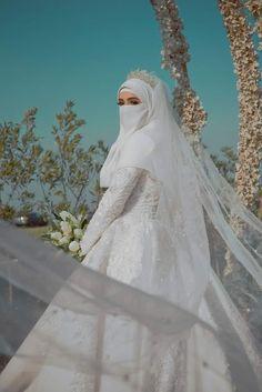 Bridal Hijab, Muslim Wedding Dresses, Muslim Brides, Wedding Hijab, Best Wedding Dresses, Beautiful Hijab, Beautiful Bride, Niqab, Muslimah Wedding