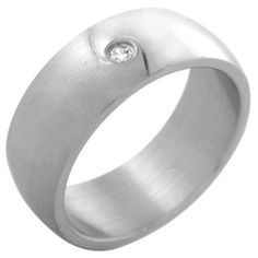 Style Sanctuary  - Stainless Steel Wedding Ring with Cubic Zirconia Stone, £4.99…