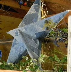 Shabby chic recycled jeans star :: graduation party decorLooks like Farrah Frost.                           Do a letter 12x12 like that