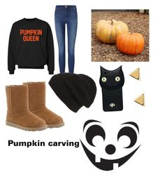 """Going pumpkin carving"" by fabulousbella11 ❤ liked on Polyvore featuring Pottery Barn, CO, Bearpaw, Frame Denim, Phase 3, Valfré and Argento Vivo"