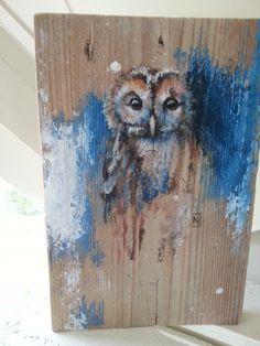 Fraaie uil op een doorleefd plankje. Painting & Drawing, Stencil Painting, Painting Wood Paneling, Pallet Painting, Owl Art, Bird Art, Wood Pallet Art, Cottage Art, Driftwood Art