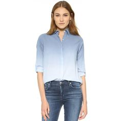 SUNDRY Ombre Button Down Shirt ($140) ❤ liked on Polyvore featuring tops, denim, collared shirt, long sleeve button up shirts, blue collared shirt, long sleeve tops and blue button up shirt