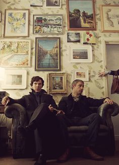 "Sherlock and John in Kitty Riley's apartment in ""The Reichenbach Fall,"" Sherlock, Series Two (2012)."