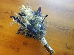 Rustic Natural Wedding Bouquet - bridal, vintage, thistle, lace, feathers, dried flowers, moss, blue, green, grey fall winter misty river