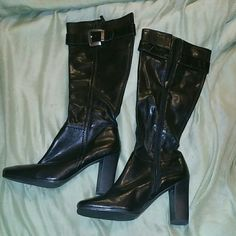 Black knee high heeled boots Black knee high boots. Zip up side zipper. Silver buckle. All man made materials. Franco Sarto Shoes Heeled Boots