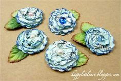 Inspirational Tips, Techniques & Tutorials: Pretty Vintage Paper Flower Posies.....