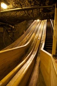 To get into the Salzburg salt mine you have to take two slides like this. One is 40m long, the other 70m. It is so much fun!