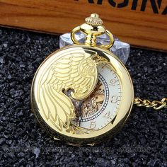 0d658c17a639 Gold Phoenix Mechanical Pocket Watch Fob Chain Automatic Skeleton Necklace  Men Steampunk Pocket Watch