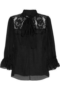 Dolce & Gabbana | Silk-blend chiffon and lace pussybow blouse | NET-A-PORTER.COM