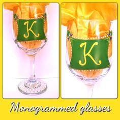 Fun hand painted monogrammed glass. Facebook.com/daniellefigueroa.Art