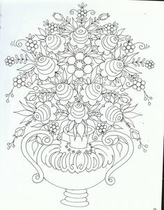 pattern for Bauernmalerei Russian Painting, Russian Art, Floral Embroidery Patterns, Embroidery Designs, Tole Painting Patterns, Wood Patterns, Art Drawings For Kids, Colouring Pages, Coloring