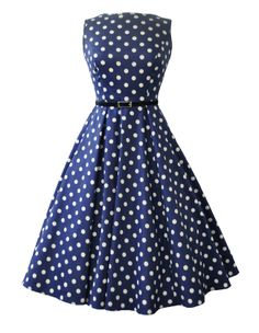 Lady V London Navy Polka Dot Audrey Hepburn Style Dress