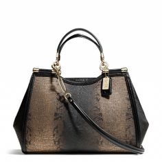 The Coach Madison Caroline Satchel in Metallic Spotted Lizard