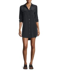Slim+Signature+Long-Sleeve+Dress,+True+Black+at+CUSP.