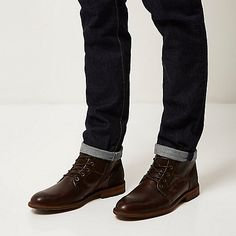 Brown leather lace-up worker boots