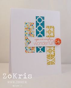 handmade card ... white and bright ... three wide strips of patterned paper ... great design for using scraps ... like it!