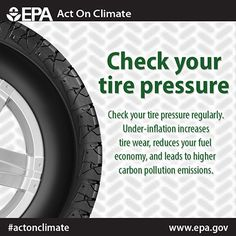 Check your tire pressure to #ActOnClimate and improve your fuel economy! #ActOnClimate