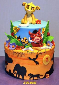 Lion King birthday cake But have to admit this would be for my own birthday. Yes I might be but I love the lion king! Fancy Cakes, Cute Cakes, Crazy Cakes, Cupcake Party, Cupcake Cakes, Cake Fondant, Beautiful Cakes, Amazing Cakes, Lion King Cakes