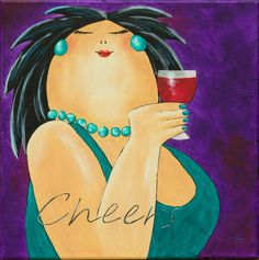 Happy Paintings, Beautiful Paintings, Fabric Painting, Painting & Drawing, Illustrations, Illustration Art, Plus Size Art, Fat Art, Learn To Paint