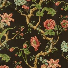 138/=6046M-001 Andrew Jackson Floral Multi On Chocolate by Scalamandre