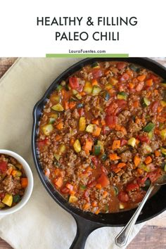 This paleo chili recipe is all meat, lots of veggies, full of flavor, and is Ket. This paleo chili Keto Chili Recipe, Paleo Chili, Veggie Chili, Paleo Soup, Chili Recipes, Paleo Recipes, Cooking Recipes, Cooking Chili, Whole 30 Chili Recipe