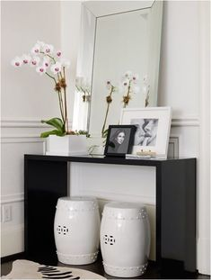 As with any color, decorating with black can always be achieved in smaller or less permanent ways by incorporating accents or painted furniture.black modern console