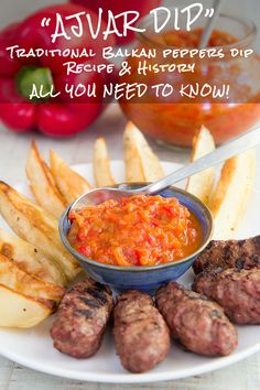 AJVAR RECIPE Balkan bell peppers dip all you need to know Ajvar is a traditional relish originating of the Balkans created to preserve the peppers The sweet and sour ta. Dip Recipes, Salad Recipes, Vegan Recipes, Party Recipes, Pepper Relish, Eggplant Salad, Sour Taste, Recipe Please, Grilled Meat
