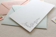 Letterpress Modern Calligraphy Style Personalized Stationery, Set of 50 or more, note cards, anniversary, thank you, bridesmaid gift