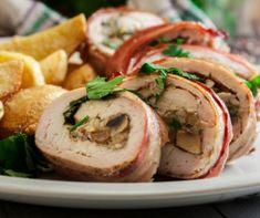 Tepsis töltött burgonya Recept képpel - Mindmegette.hu - Receptek Caprese Salad, Hummus, Baked Potato, Sushi, Bacon, Potatoes, Ethnic Recipes, Food, Potato