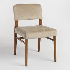 Our classic split-back chairs boast rounded corners, a walnut finished frame and tapered legs. Ultra-soft cocoa-brown brushed fabric upholstery adds to this pair's timeless appeal.