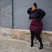 Modify a pencil skirt mini to button up a side and only add buttons to the top half Rebecca Page Kingston jacket? Thick Girl Fashion, Curvy Fashion, Plus Size Fashion, Look Plus Size, Plus Size Women, Plus Size Dresses, Plus Size Outfits, Curvy Girl Outfits, Mode Chic