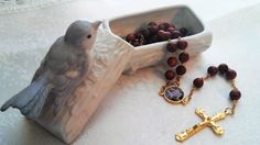 GOLD SANDSTONE ROSARY in  a Bluebird Bisque Porcelain Trinket box by BarbsBeadedBoutique on Etsy