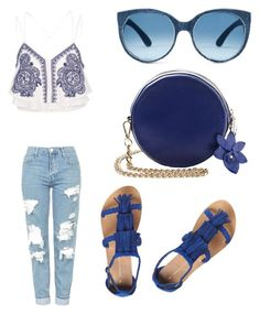 """Blue :D"" by eldina-salihovic ❤ liked on Polyvore featuring River Island, Topshop and Dorothy Perkins"