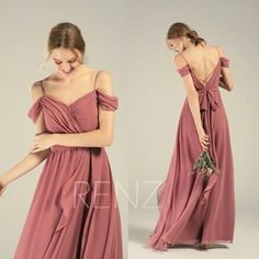 Bridesmaid Dress Dusty Rose Cold Shoulder Wedding Dress Beach Backless Lapped Ruffle Long Prom Dress - Off The Shoulder Dresses - Ideas of Off The Shoulder Dresses Dusty Rose Bridesmaid Dresses, Dusty Rose Dress, Mauve Dress, Old Rose Color Dress, Cold Shoulder Wedding Dress, Off Shoulder Dresses, Off Shoulder Bridesmaid Dress, Beach Dresses, Prom Dresses