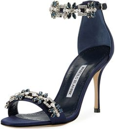 Manolo Blahnik 'Firadou' Crystal-Embellished Satin Sandals